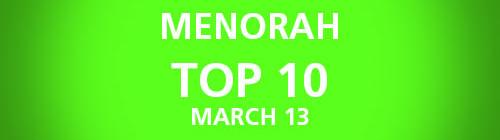 Menorah Top 10 Chart | March 13